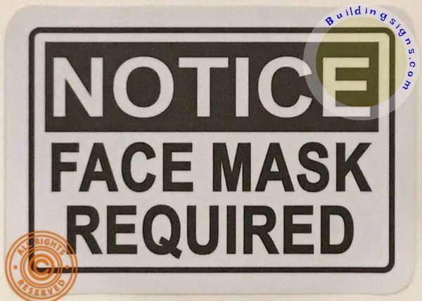 Notice FACE MASK Required Heavy Duty Vinyl Sticker Sign (7X10 inch, Sticker)