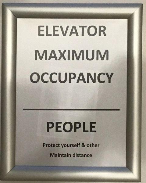 Elevator maximum occupancy frame (Aluminium, Front Load, 8.5x11)