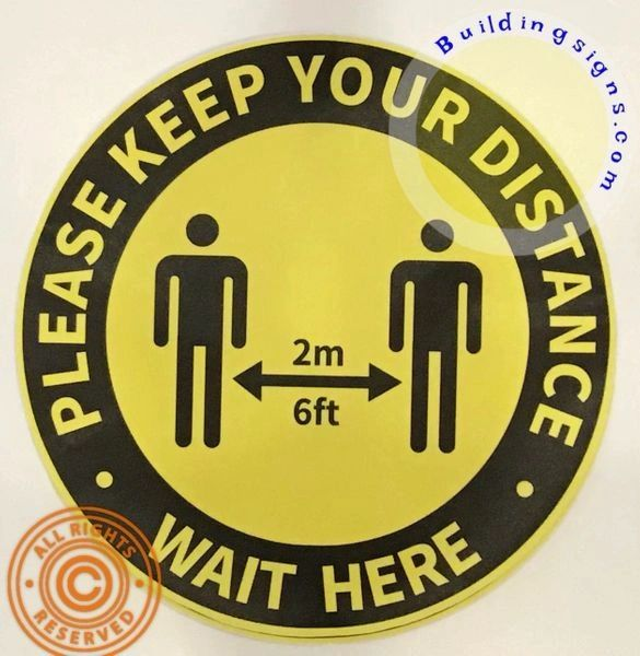 ONE (1) -Please Keep Your Distance Floor Sticker-wall sticker (18 INCH !!!!, Yellow)