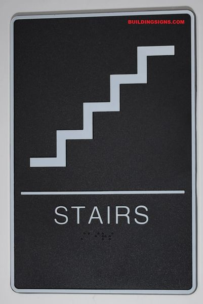 STAIRS Sign- BLACK- BRAILLE (PLASTIC ADA SIGNS 9X6)- The Standard ADA line