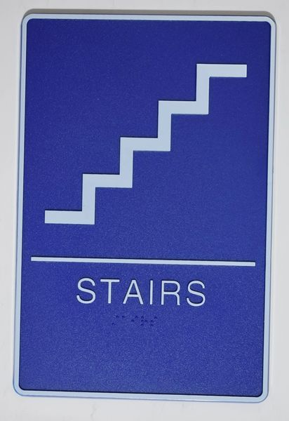 STAIRS Sign- BLUE- BRAILLE (PLASTIC ADA SIGNS 9X6)- The deep Blue ADA line