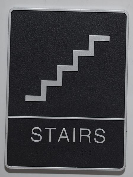 STAIRS Sign- BLACK- BRAILLE (PLASTIC ADA SIGNS 9X6)- The Leather Sheffield ADA line