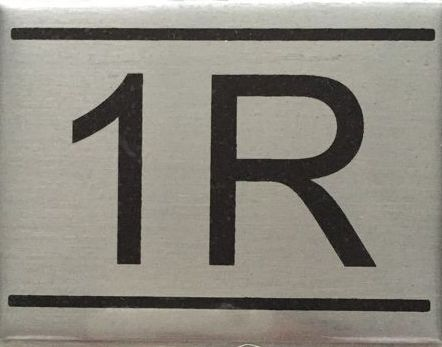 APARTMENT NUMBER SIGN – 1R- BRUSHED ALUMINUM