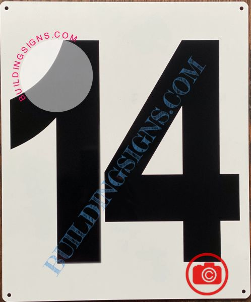 NUMBER 14 SIGN - WHITE (ALUMINUM SIGNS 12X10)- PARKING LOT NUMBER SIGN