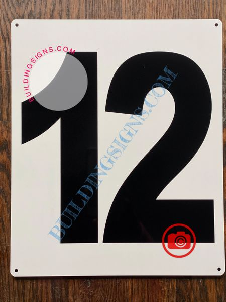 NUMBER 12 SIGN - WHITE (ALUMINUM SIGNS 12X10)- PARKING LOT NUMBER SIGN