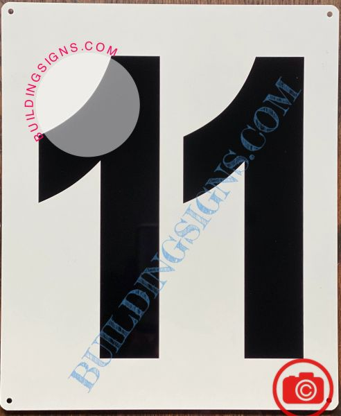 NUMBER 11 SIGN - WHITE (ALUMINUM SIGNS 12x10)- Parking LOT Number Sign