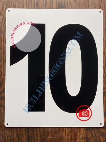 NUMBER 10 SIGN - WHITE (ALUMINUM SIGNS 12x10)- Parking LOT Number Sign