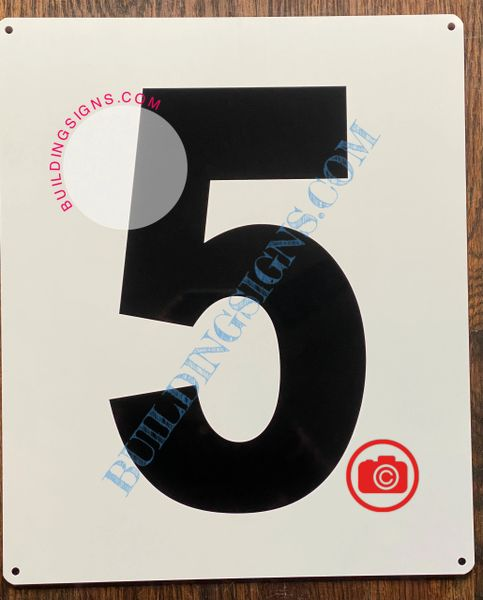 NUMBER 5 SIGN - WHITE (ALUMINUM SIGNS 12x10)- Parking LOT Number Sign