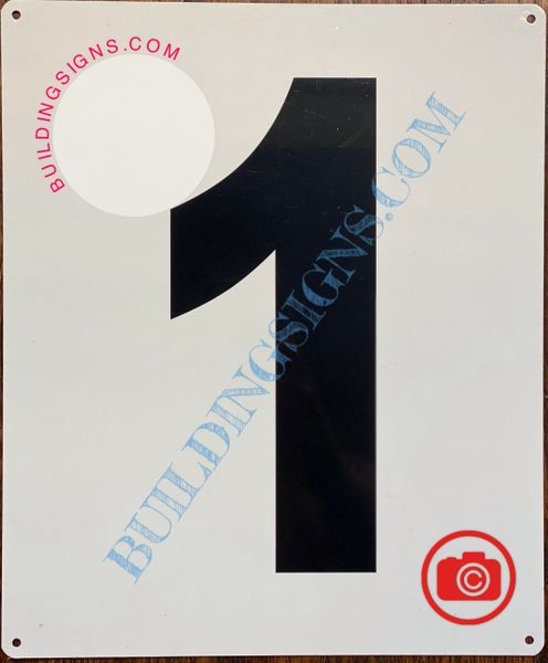 NUMBER 1 SIGN - WHITE (ALUMINUM SIGNS 12x10)- Parking LOT Number Sign