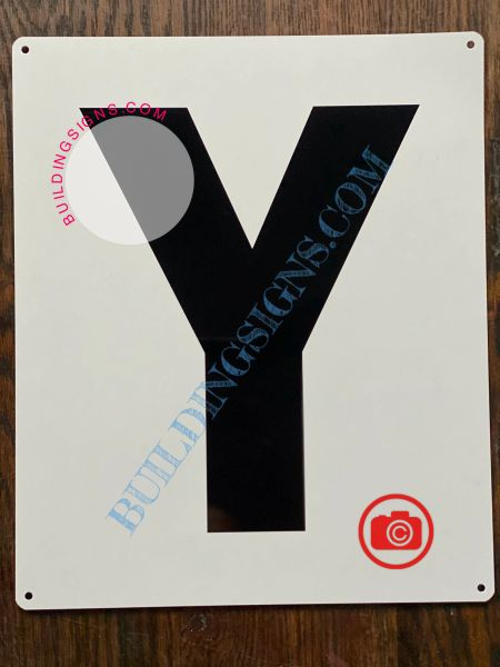 LETTER Y SIGN - WHITE (ALUMINUM SIGNS 12X10)- PARKING LOT NUMBER SIGN