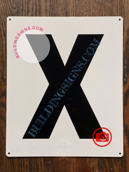 LETTER X SIGN - WHITE (ALUMINUM SIGNS 12X10)- PARKING LOT NUMBER SIGN