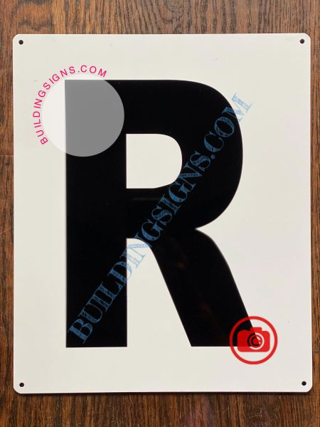 LETTER R SIGN - WHITE (ALUMINUM SIGNS 12x10)- Parking LOT Number Sign
