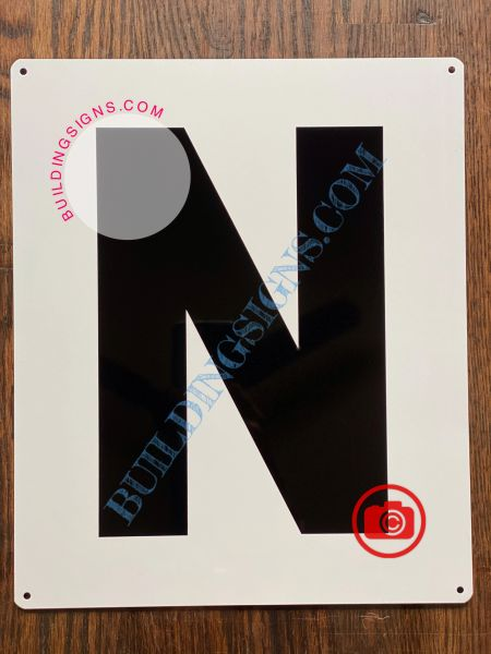 LETTER N SIGN - WHITE (ALUMINUM SIGNS 12x10)- Parking LOT Number Sign