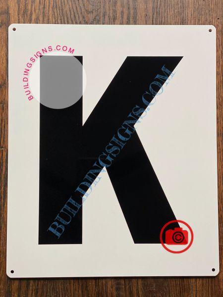 LETTER K SIGN - WHITE (ALUMINUM SIGNS 12x10)- Parking LOT Number Sign