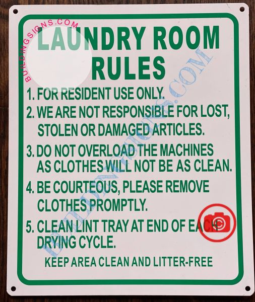 LAUNDRY ROOM RULES SIGN- WHITE (ALUMINUM SIGNS 12X10)