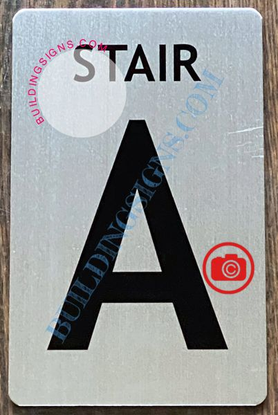 STAIR A SIGN - BRUSHED ALUMINUM (ALUMINUM SIGNS 8X5)