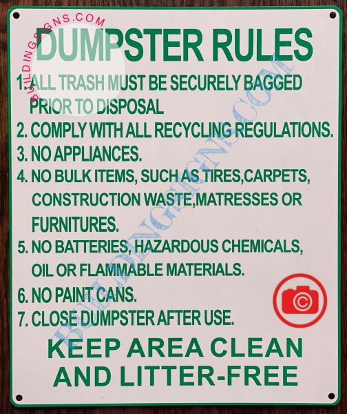 DUMPSTER RULES SIGN (ALUMINUM SIGNS 12X10)