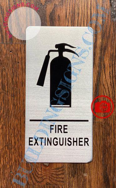FIRE EXTINGUISHER SIGN- BRUSHED ALUMINUM (ALUMINUM SIGNS 8x4)