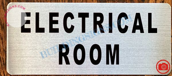 ELECTRICAL ROOM SIGN- BRUSHED ALUMINUM (ALUMINUM SIGNS 3.5x8)