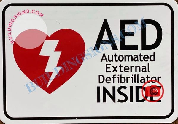 AED AUTOMATED EXTERNAL DEFIBRILLATOR INSIDE SIGN- WHITE (ALUMINUM SIGNS 3.5x5)