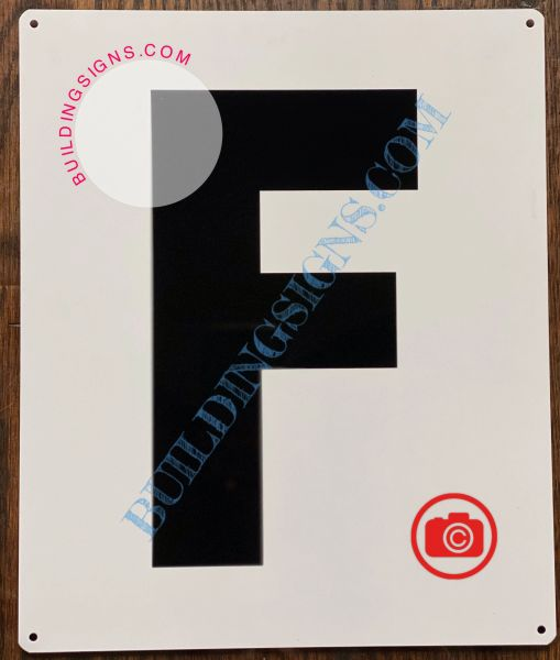 LETTER F SIGN - WHITE (ALUMINUM SIGNS 12x10)- Parking LOT Number Sign