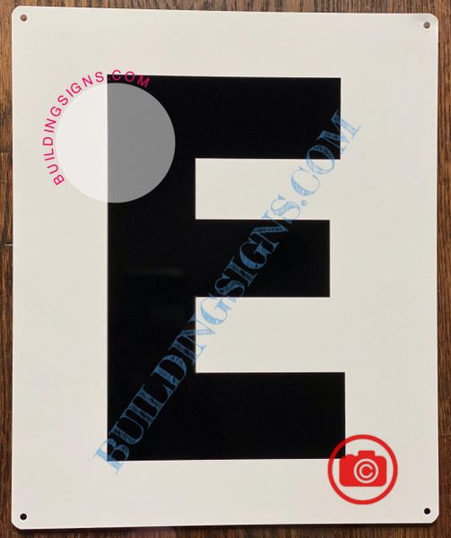 LETTER E SIGN - WHITE (ALUMINUM SIGNS 12x10)- Parking LOT Number Sign