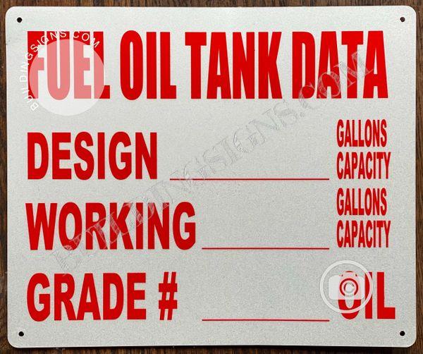 FUEL OIL TANK DATA SIGN (ALUMINUM SIGNS 10x12)