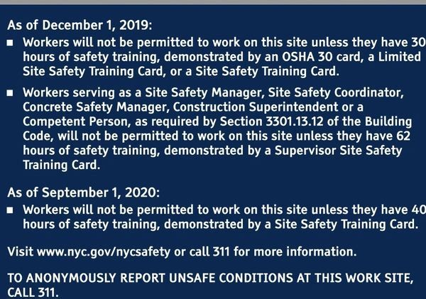 OSHA 30-Hour DOB REQUIRED Construction SIGN (ENGLISH, 41X31 INCH)- *** PICK UP ONLY ***