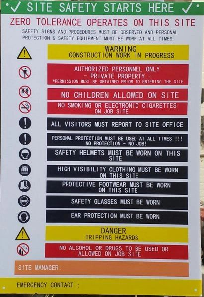SITE SAFETY RULES SIGN (Corrugated plastic ,ENGLISH, 41X31 INCH)- *** PICK UP ONLY ***