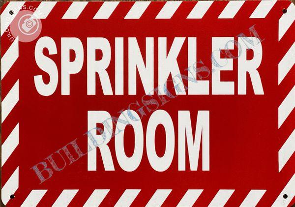 SPRINKLER ROOM SIGN- RED (ALUMINUM SIGNS 10x12)