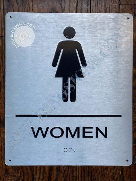 WOMEN RESTROOM SIGN-BRAILLE- BRUSHED ALUMINUM BACKGROUND (ALUMINUM SIGNS 6x9)