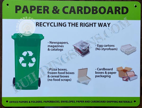 PAPER AND CARDBOARD (RECYCLING THE RIGHT WAY) SIGN- WHITE BACKGROUND (ALUMINUM SIGNS 5.5x11)