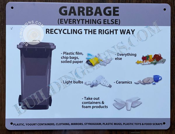 GARBAGE (EVERYTHING ELSE) (RECYCLING THE RIGHT WAY) SIGN- WHITE BACKGROUND (ALUMINUM SIGNS 5.5X11)