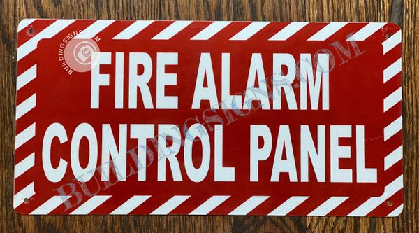 FIRE ALARM CONTROL PANEL SIGN- RED BACKGROUND (ALUMINUM SIGNS 4X12)