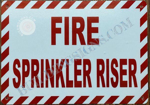 FIRE SPRINKLER RISER SIGN- WHITE BACKGROUND (ALUMINUM SIGNS 7X10)