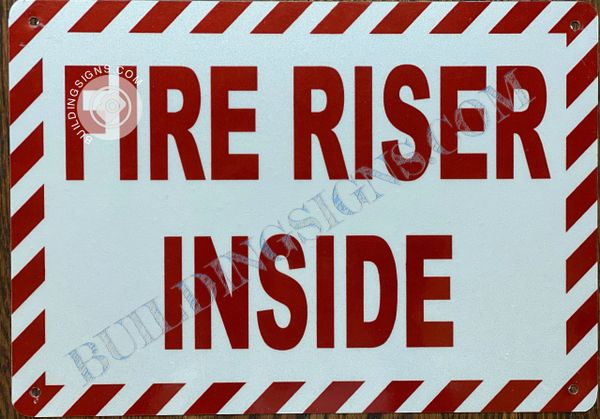 FIRE RISER INSIDE SIGN- RED BACKGROUND (ALUMINUM SIGNS 7X10)
