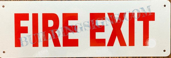 FIRE EXIT SIGN- WHITE BACKGROUND (ALUMINUM SIGNS 4X12)