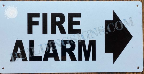 FIRE ALARM SIGN- WHITE BACKGROUND (ALUMINUM SIGNS 6X12)