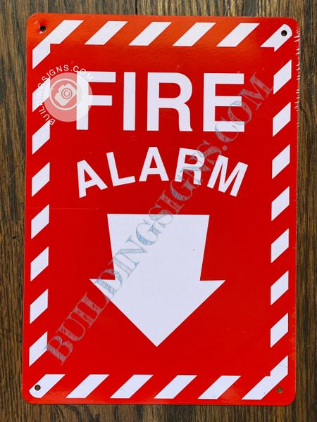 FIRE ALARM SIGN- RED BACKGROUND (ALUMINUM SIGNS 10X7)