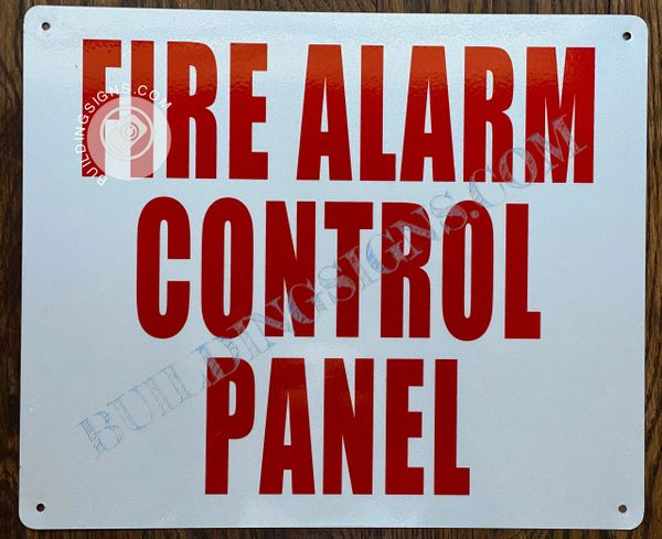FIRE ALARM CONTROL PANEL SIGN- WHITE BACKGROUND (ALUMINUM SIGNS 10X12)