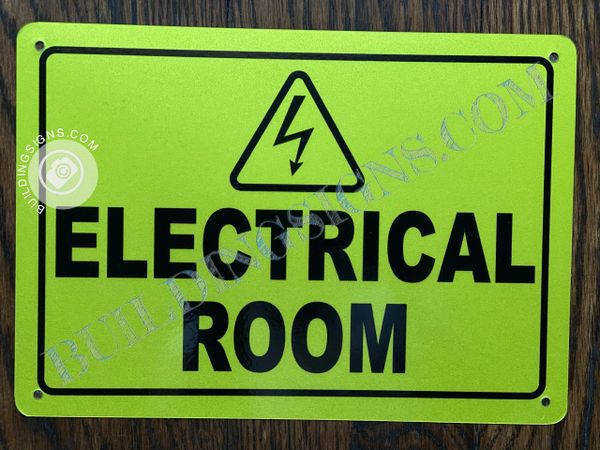 ELECTRICAL ROOM SIGN- YELLOW BACKGROUND (ALUMINUM SIGNS 7X10)