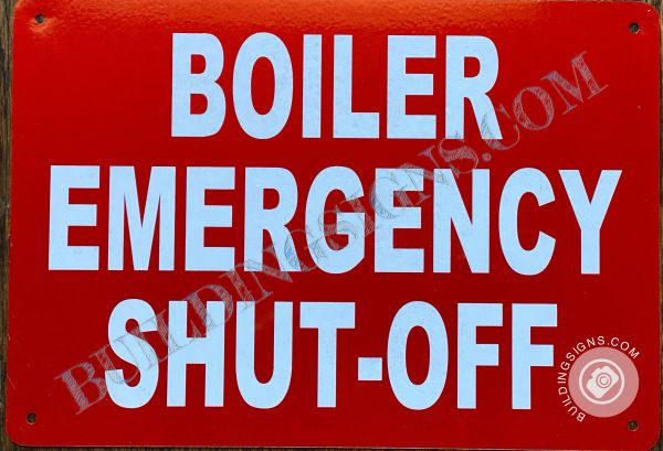 EMERGENCY EXIT ONLY NO RE ENTRY TO BUILDING SIGN- RED BACKGROUND (ALUMINUM SIGNS 6X12)