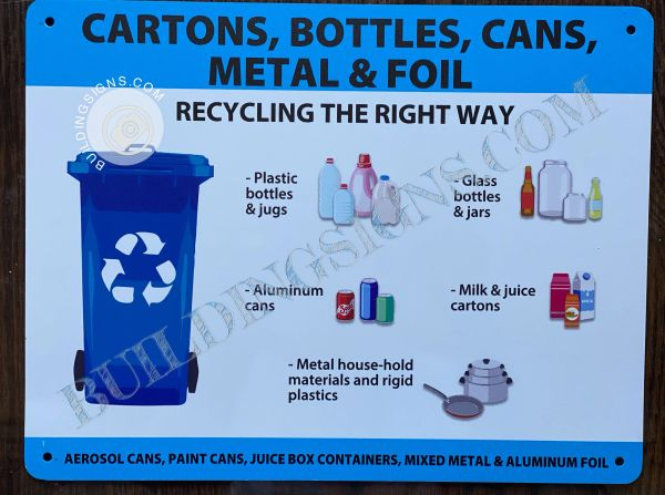 CARTONS, BOTTLES, CANS, METAL AND FOIL (RECYCLING THE RIGHT) WAY SIGN- WHITE BACKGROUND (ALUMINUM SIGNS 8.5X11)