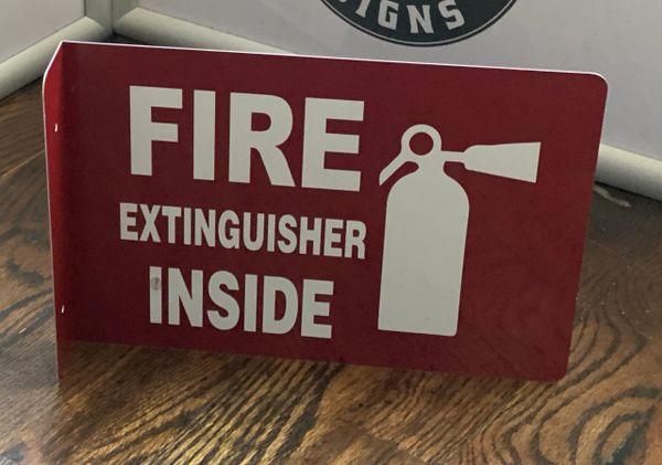 FIRE EXTINGUISHER INSIDE SIGN- 3D (ALUMINUM SIGNS 7X10)