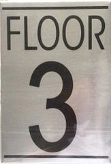 FLOOR NUMBER THREE (3) SIGN – BRUSHED ALUMINUM