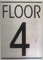 FLOOR NUMBER FOUR (4) SIGN - BRUSHED ALUMINUM