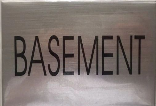 FLOOR NUMBER SIGN - BASEMENT FLOOR SIGN- BRUSHED ALUMINUM