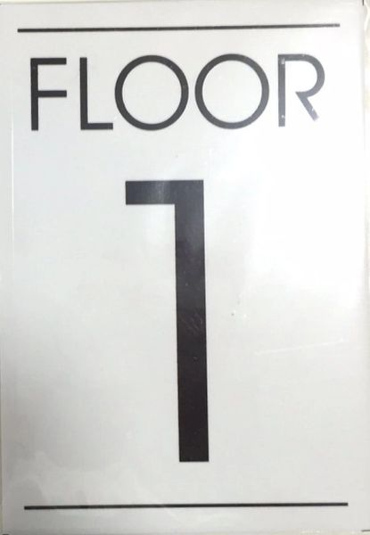 FLOOR NUMBER ONE (1) SIGN – WHITE BACKGROUND