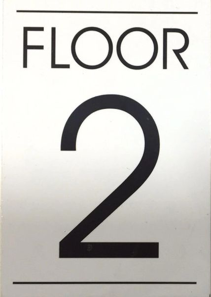 FLOOR NUMBER TWO (2) SIGN – WHITE BACKGROUND