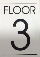 FLOOR NUMBER THREE (3) SIGN – WHITE BACKGROUND